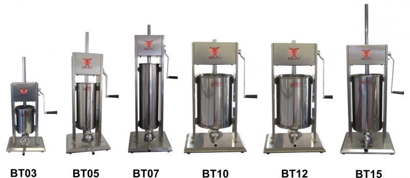 Vertikální plnička klobás Beeketal BT03 na 3 l s 5 nerezovými nástavci