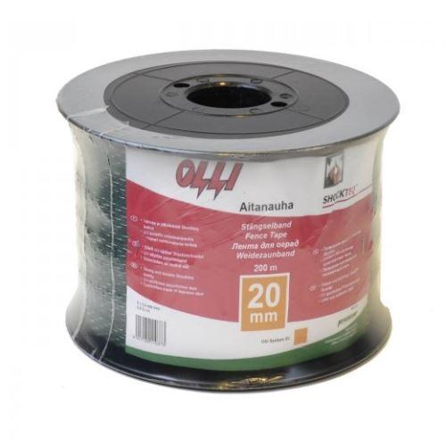 Zelená vodivá páska Shockteq OLLI 20 mm/200 m pro elektrický ohradník