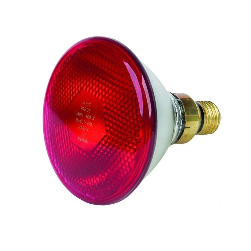 Topná infražárovka úsporná červená FARMA 175W PAR 38 pro kuřata, drůbež, selata, prasata