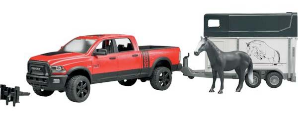 Bruder - Dodge RAM 2500 Power Wagon s přívěsem a koněm