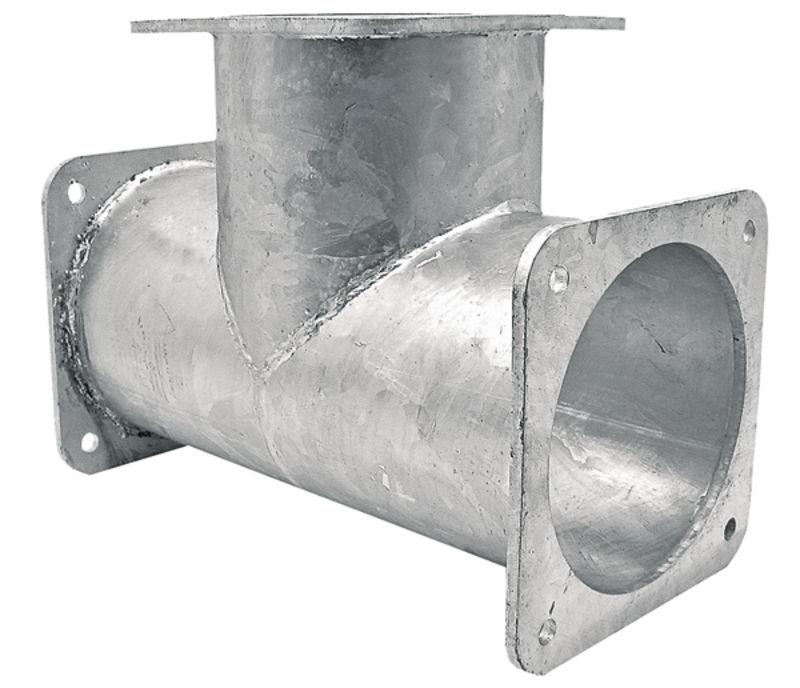 T-kus 90° 3x příruba 4″ pro fekální vozy rozteč děr 150 x 150 mm