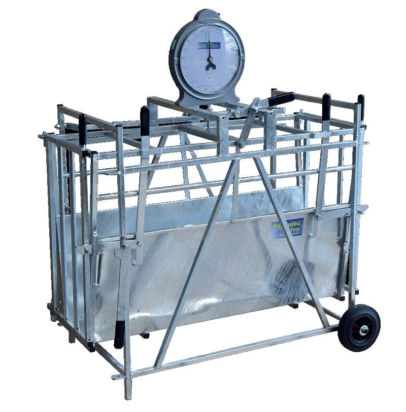 Mobilní fixační klec na ovce Pasdelou s mechanickou váhou do 100 kg bez ciferníku