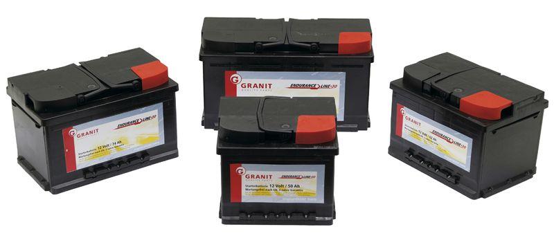Autobaterie 12V 50Ah Granit bezúdržbová do auta, traktoru startovací proud 450A, 0/1