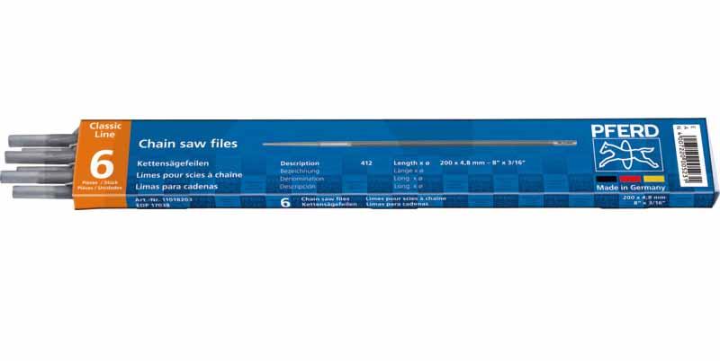 Kulatý pilník PFERD Standard průměr 4,8 mm na pilové řetězy 0.325″ + 3/8″ Profi 6 ks