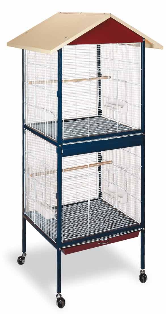 Voliéra Julia 2 patra pro ptáky, papoušky, andulky 600 x 600 x 1750 mm na kolečkách