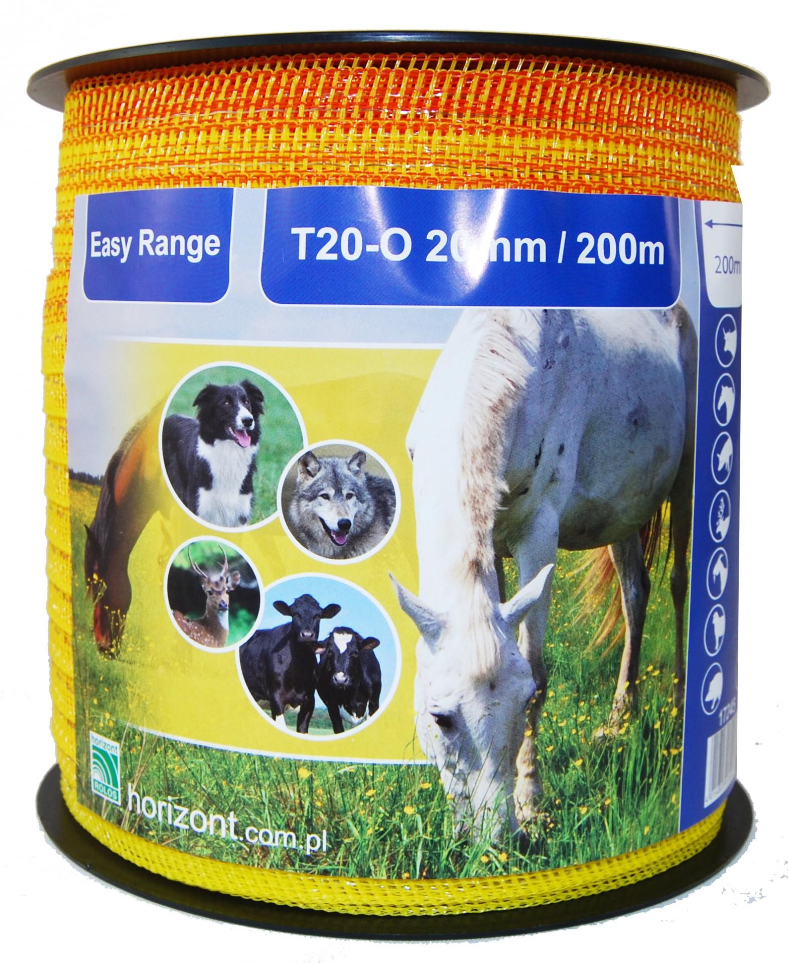 Ohradníková páska žlutooranžová EASY RANGE T20-O 20 mm / 200 m odpor 10,8 Ohm/m