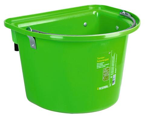 Závěsný kbelík pro koně světle zelený s uchem a 2 kovovými držáky