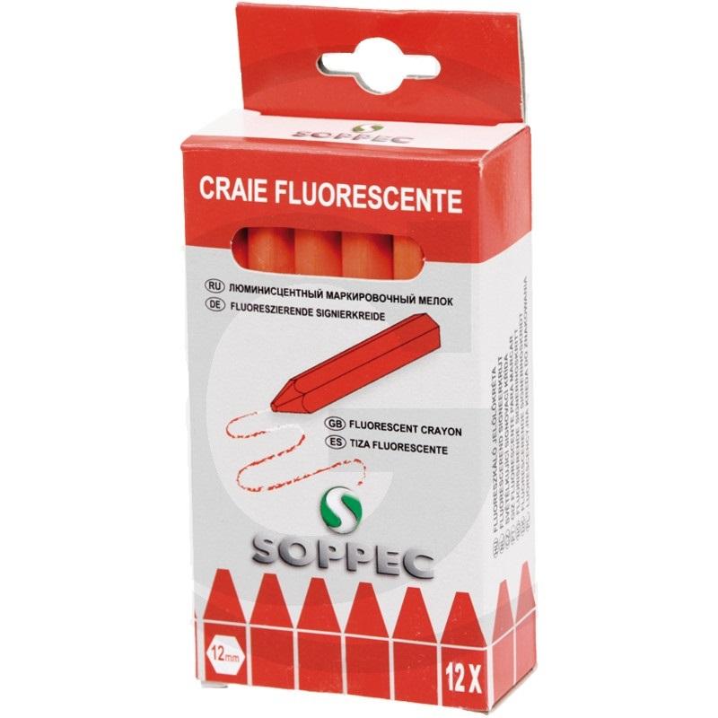 SOPPEC lesnická značkovací křída na dřevo červená fluorescenční 12 ks