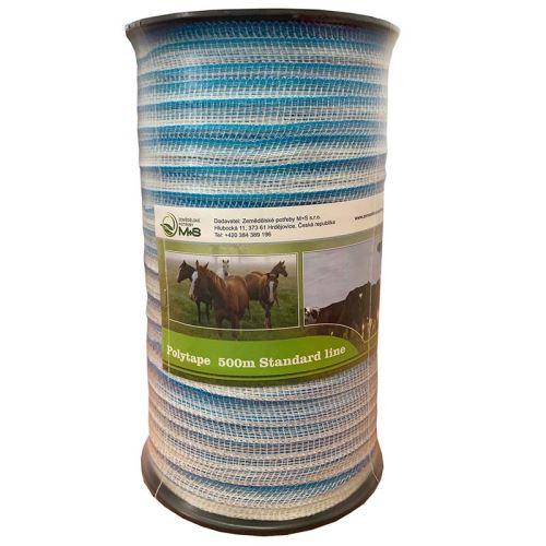 Modro-bílá ohradníková páska Standard line 20 mm/500 m odpor 9 Ohm/m