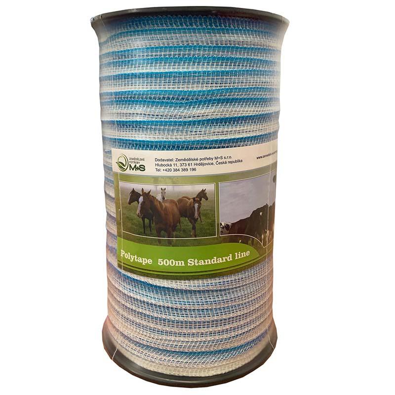 Modro-bílá ohradníková páska Standard line M+S 20 mm/500 m odpor 9 Ohm/m