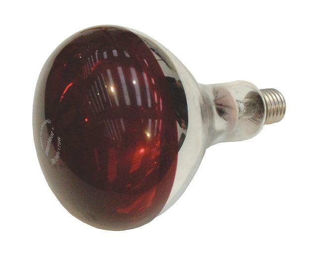 Topná infražárovka červená InterHeat 230V pro kuřata, drůbež, selata, prasata