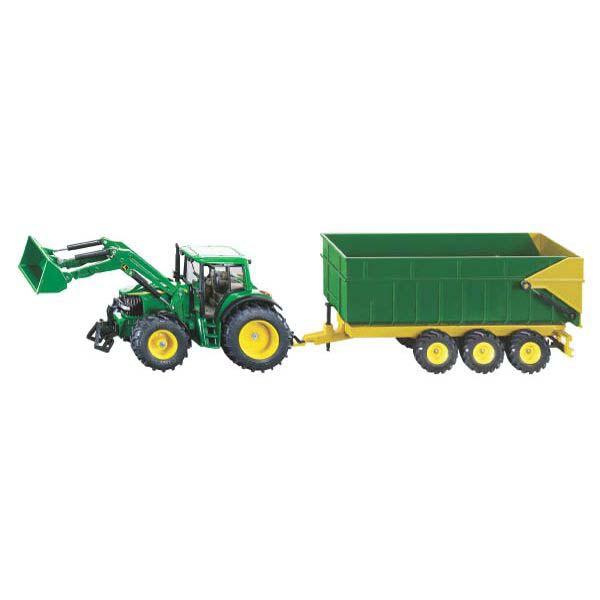 Siku – traktor John Deere s čelním nakladačem a návěsem 1:87