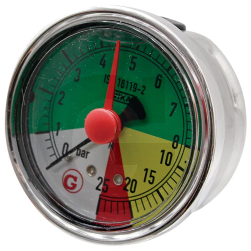 Glycerinový tlakoměr, manometr Wika přípoj 1/4″ zpět průměr 63 mm pro postřikovače 0-8-25