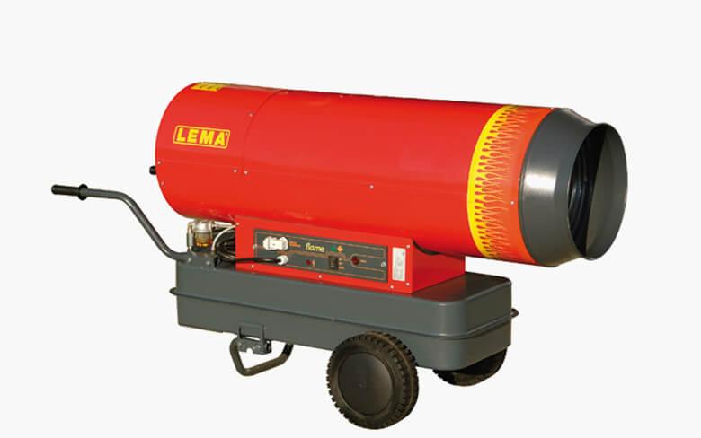 Venkovní naftové topidlo LEMA FLAME 80, mobilní topné dělo s přímým spalováním, 80kW