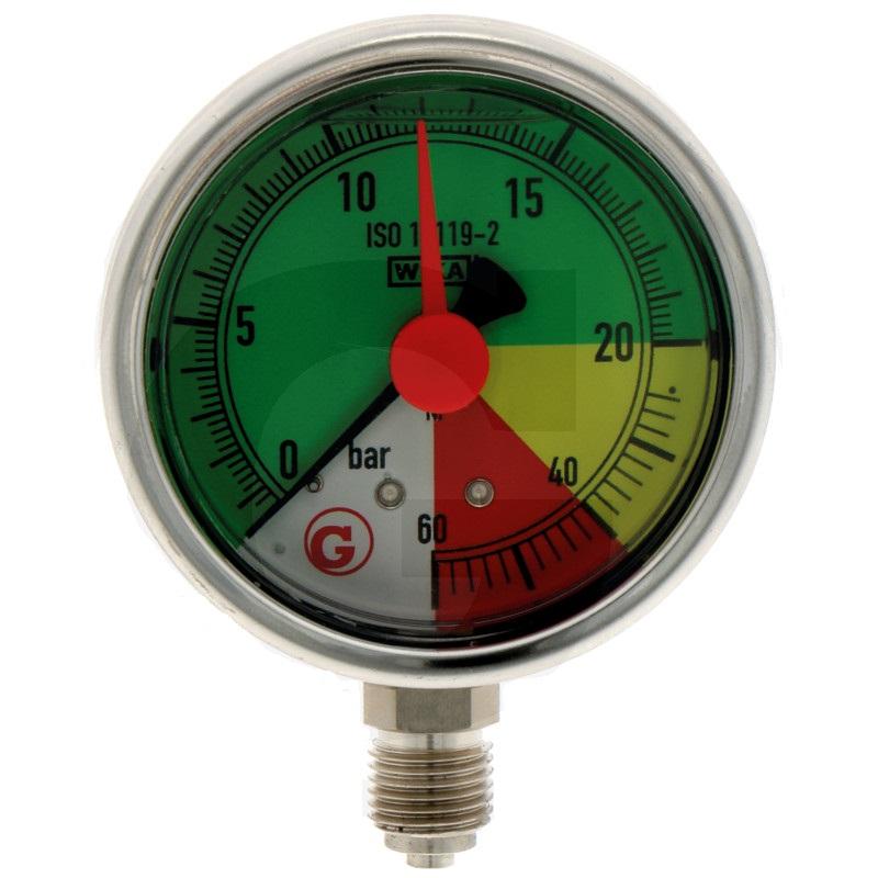 Glycerinový tlakoměr, manometr Wika přípoj 1/4″ spodní průměr 63 mm pro postřikovače 0-60