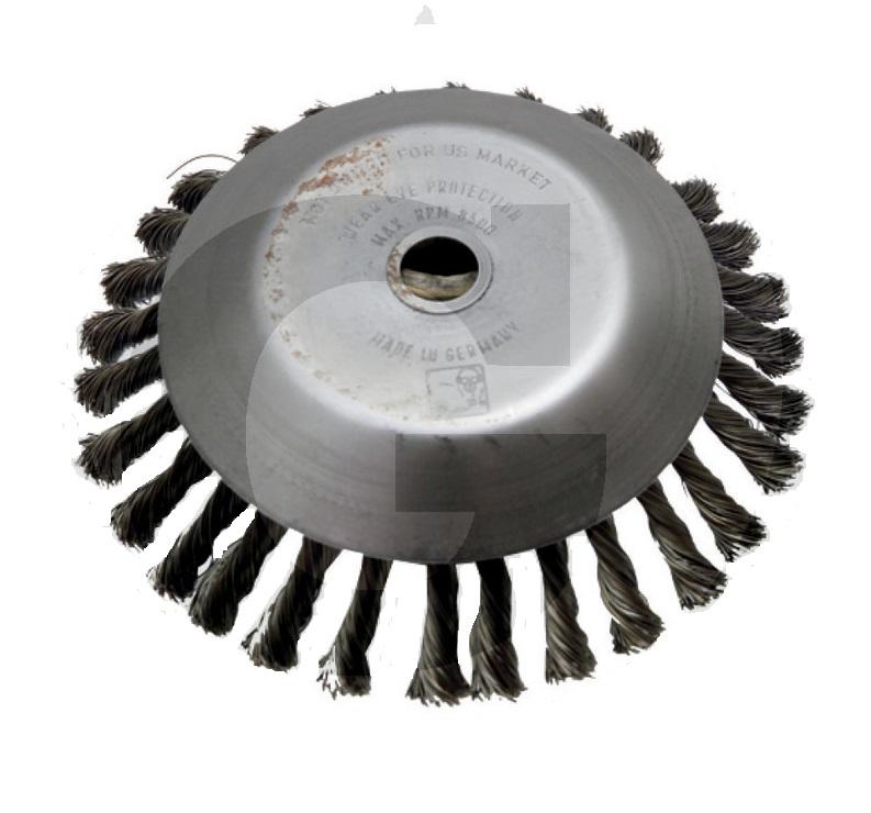 Ocelový copánkový kartáč na plevel vnější průměr 200 mm otvor 20 mm ke křovinořezu