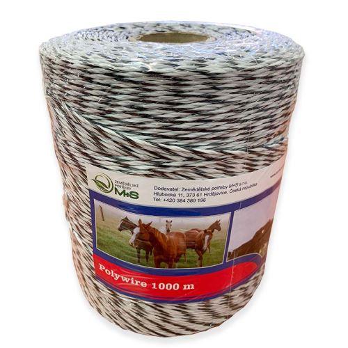 Ohradníkové lanko ProfiLine M+S 3 mm/1000 m polyetylénové černo-bílé 0,4 Ohm/m