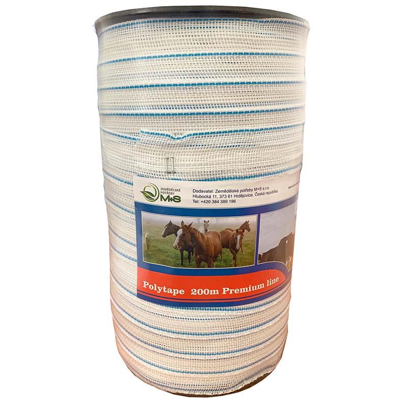 Modro-bílá ohradníková páska Premium line 40 mm/200 m odpor 0,11 Ohm/m