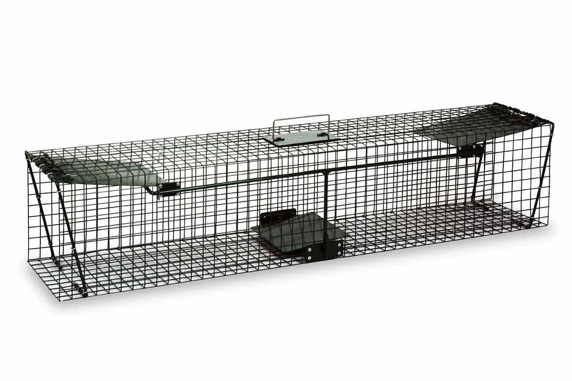 Dlouhý sklopec na kuny, tchoře, kočky a králíky s 2 dvířky 1250 x 260 x 260 mm