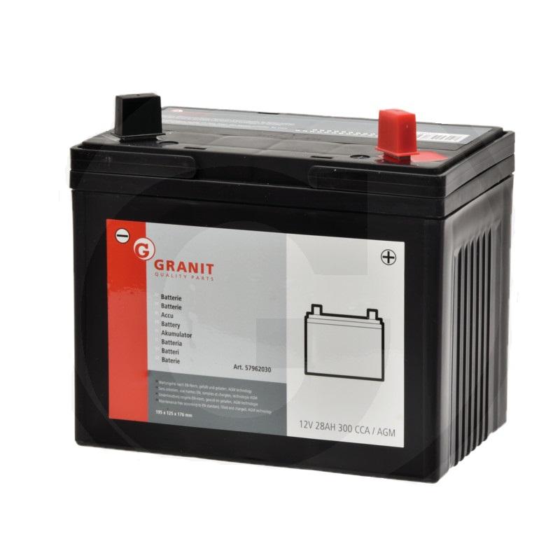 Autobaterie 12V 28Ah Granit bezúdržbová do zahradních sekaček startovací proud 300A, 0