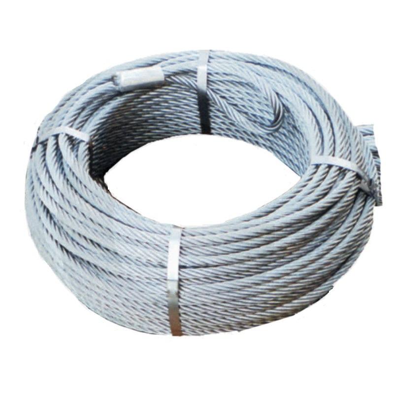 Lesnické ocelové lano průměr 9 mm 75 m na lesní naviják s okem a hákem