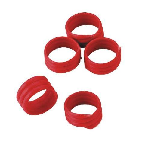Spirálové kroužky na bažanty, perličky a kuřata 12 mm červený 20 ks