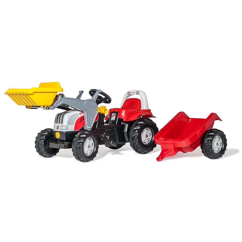 Rolly Toys - šlapací traktor Steyr 6165 CVT s vozíkem a čelním nakladačem Rolly Kid
