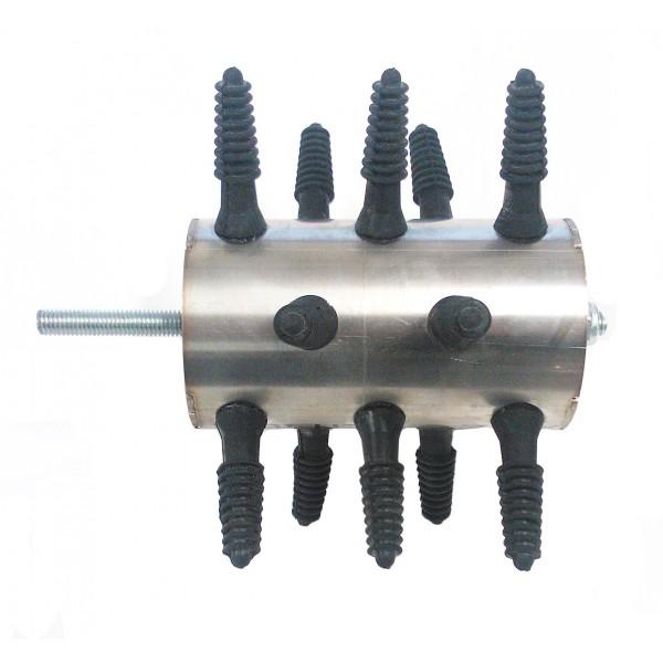 Škubací válec malý Spiumatrice DITRU06 s hřídelí, 15 prsty pro škubačku drůbeže na vrtačku