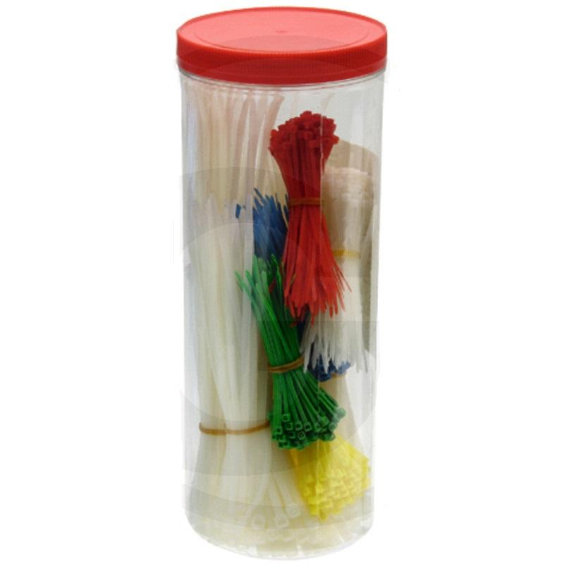 Sada vázací pásky stahovací na kabely různé délky a barvy 850 ks