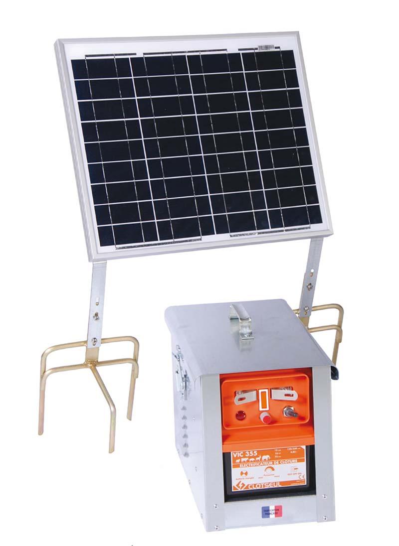CLOTSEUL VIC 355 bateriový zdroj napětí pro elektrický ohradník se solárem 30 W, 4,85J