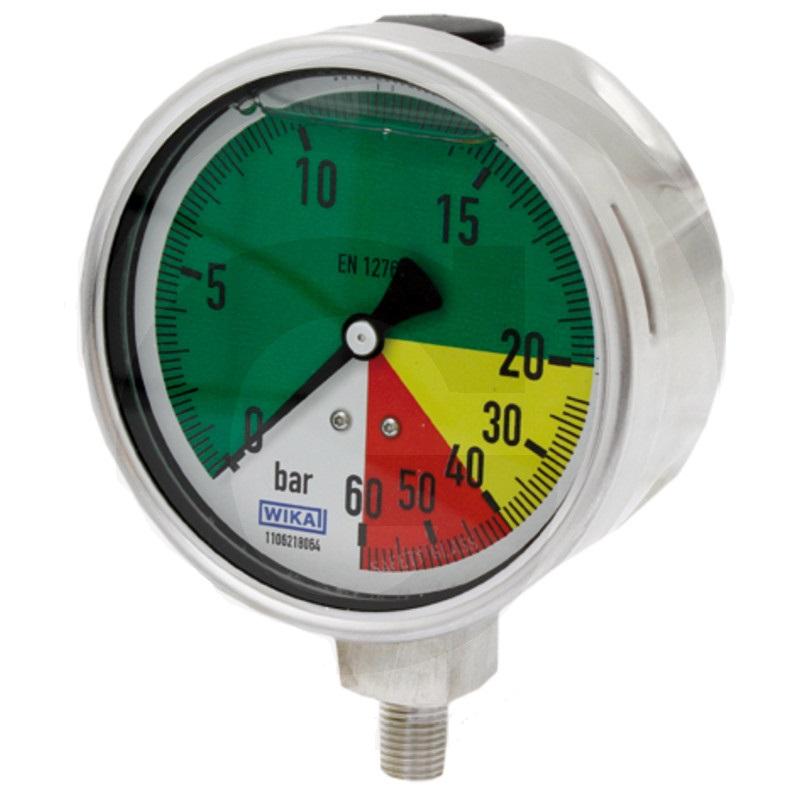 Glycerinový tlakoměr, manometr Wika přípoj 1/4″ spodní průměr 100 mm isometrický