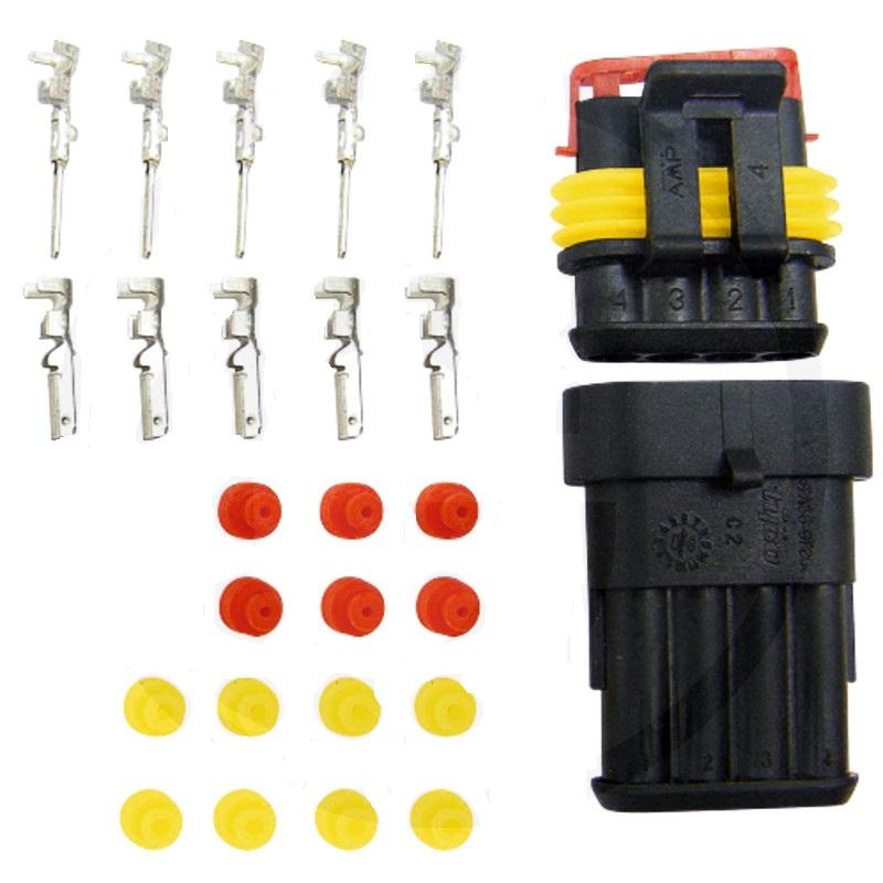 Sada konektorů, zástrček a dutinek plochých 4-pólových