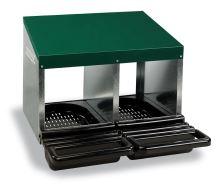 Baterie kukaní pro slepice 8-místná GAUN s plastovým víkem 2 kukaně ve 2 patrech dvojitě