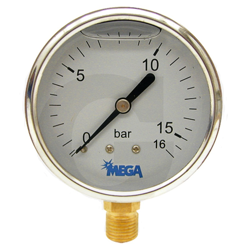Glycerinový tlakoměr, manometr Mega pro fekální vozy rozsah -1/+15 bar