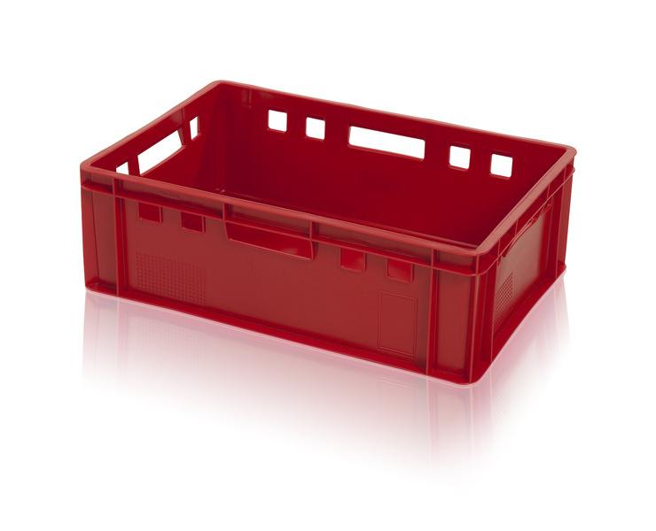 Hygienická plastová přepravka na maso a potraviny E2 střední, nosnost 30 kg