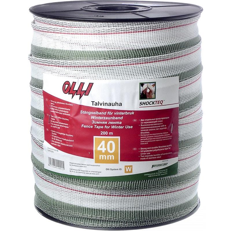 Zimní ohradníková páska SHOCKTEQ OLLI 40 mm/200 m zeleno-bílá odpor 0,6 Ohm/m