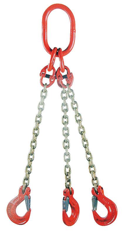 Jeřábový řetěz G8 třípramenný síla 10 mm délka 1 m s okem a háky