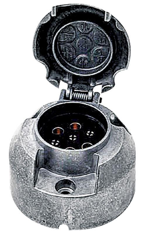 Zásuvka 7-pólová 12 V z lehkého kovu s plochými kolíky