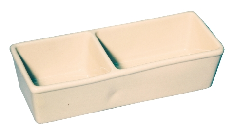 Keramická kameninová miska dvojitá na krmivo pro králíky