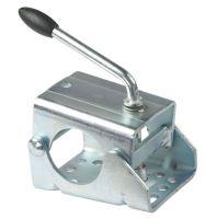 Držák opěrného kolečka přívěsu pro trubku 48 mm, pevná klika, ocelová deska