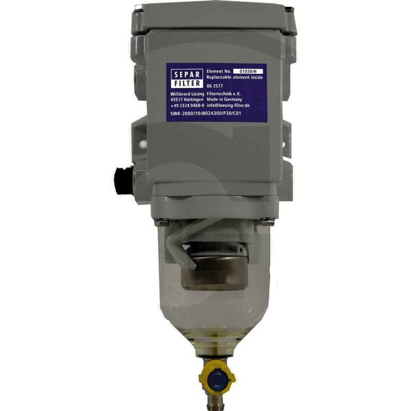 Odlučovač vody z paliva SEPAR SKW-2000/10/H 24V 300W s topením k dostavbě