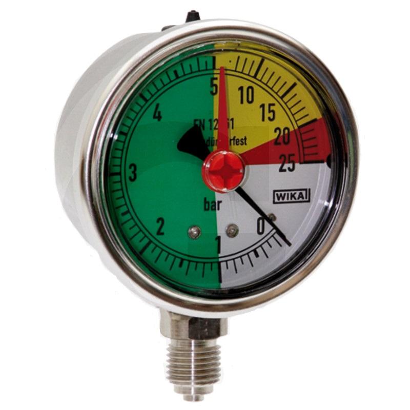 Glycerinový tlakoměr, manometr Wika přípoj 1/4″ spodní průměr 63 mm pro postřikovače 0-25