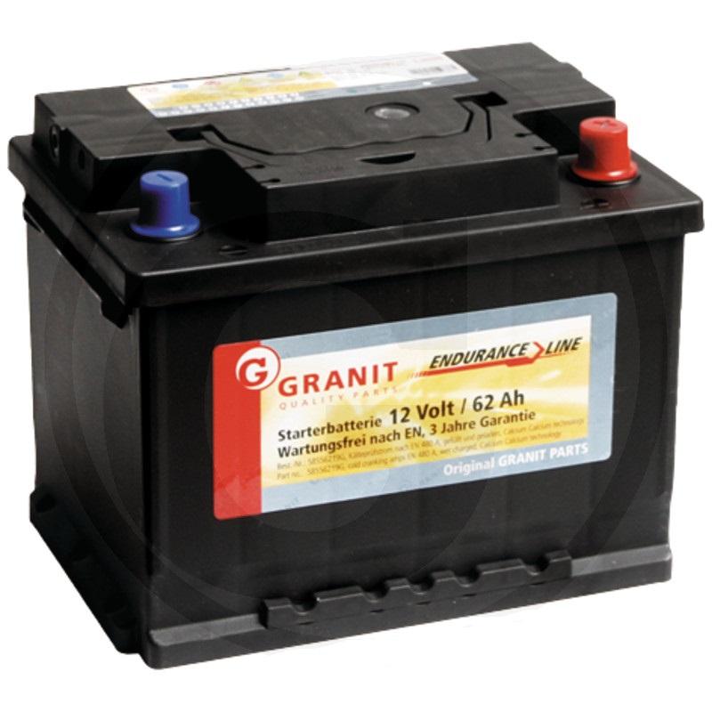 Autobaterie 12V 62Ah Granit bezúdržbová do auta, traktoru startovací proud 480A, 0/1