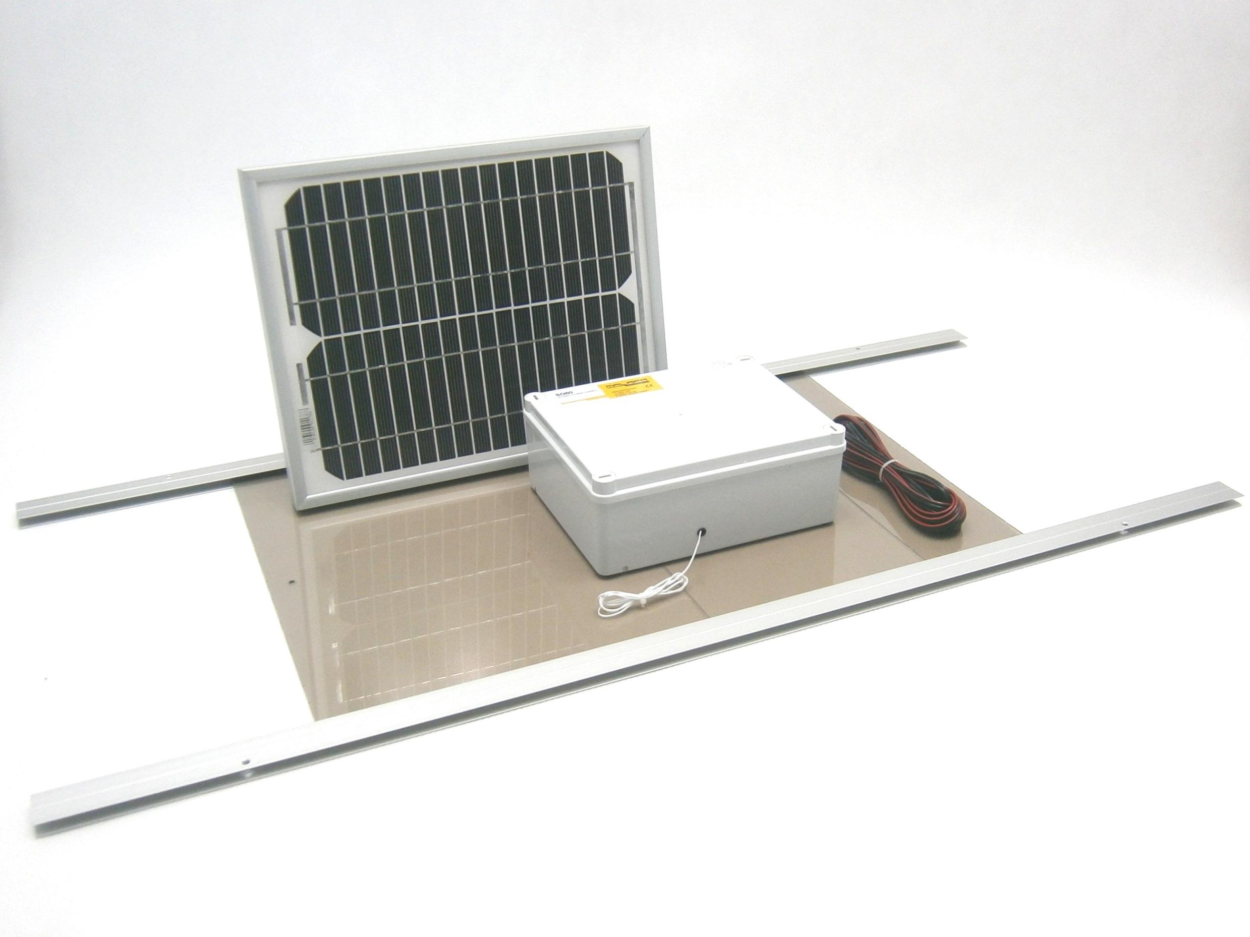 Automatické solární otevírání a zavírání kurníku SO60 12V solární panel 10W včetně dvířek
