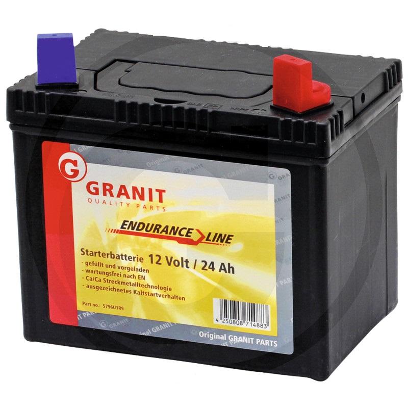 Autobaterie 12V 24Ah Granit bezúdržbová do zahradních sekaček startovací proud 250A, 0