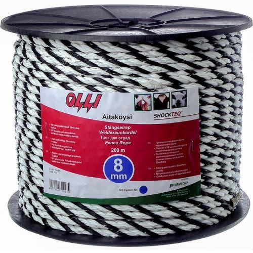 Černo-bílé lanko 8 mm/200 m Shockteq OLLI pro elektrický ohradník