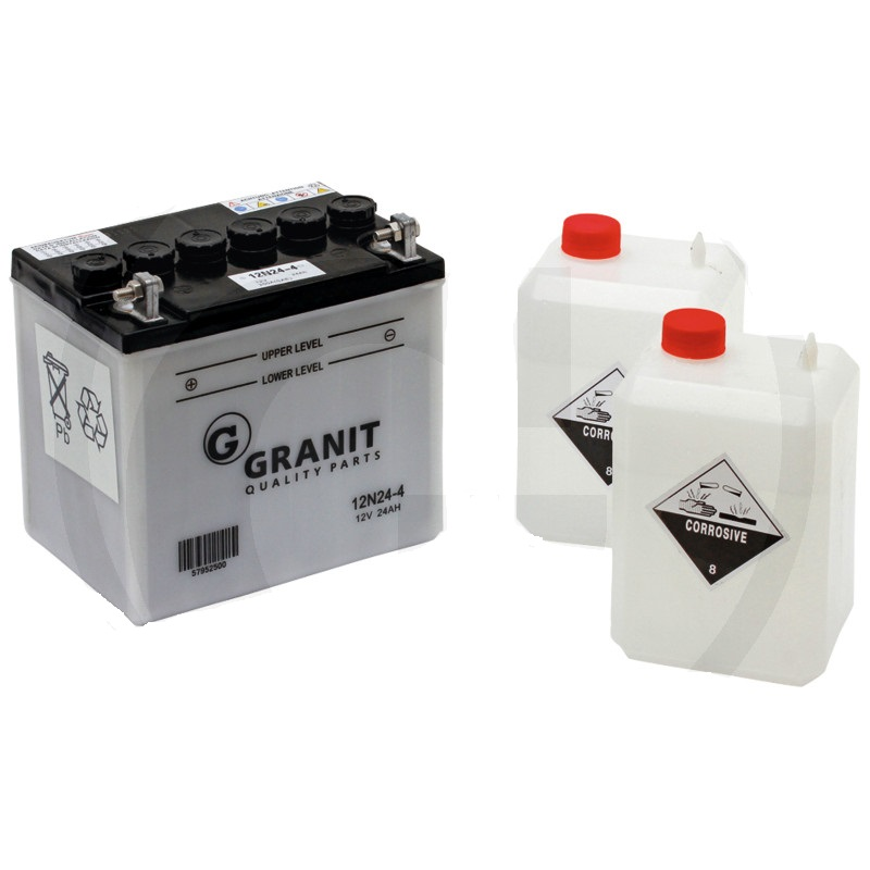 Autobaterie 12V 24Ah Granit s kyselinovou náplní do zahradních sekaček, 1