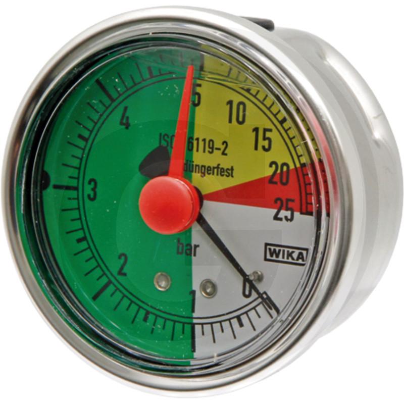 Glycerinový tlakoměr, manometr Wika přípoj 1/4″ zadní průměr 63 mm pro postřikovače 0-5-25