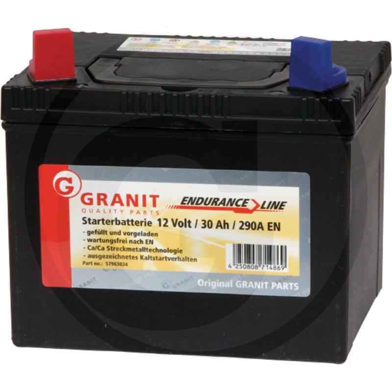 Autobaterie 12V 30Ah Granit bezúdržbová do zahradních sekaček startovací proud 330A, 1