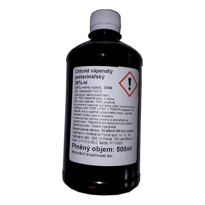 Chlorid vápenatý 36% potravinářský roztok CaCl2 500 ml na výrobu sýra